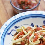 Fresh pasta with fresh salsa